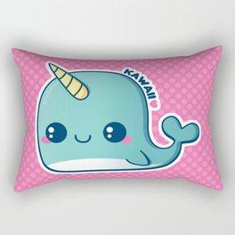 Kawaii Blue Narwhal Rectangular Pillow
