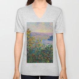 Claude Monet - Flower Beds at Vetheuil Unisex V-Neck