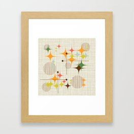 Mid Century Modern Starbursts and Globes 3a Framed Art Print
