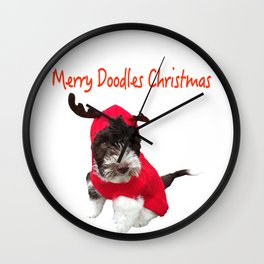 Merry Doodles Christmas Labradoodle Wall Clock