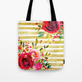 Flowers & Stripes 2 Tote Bag