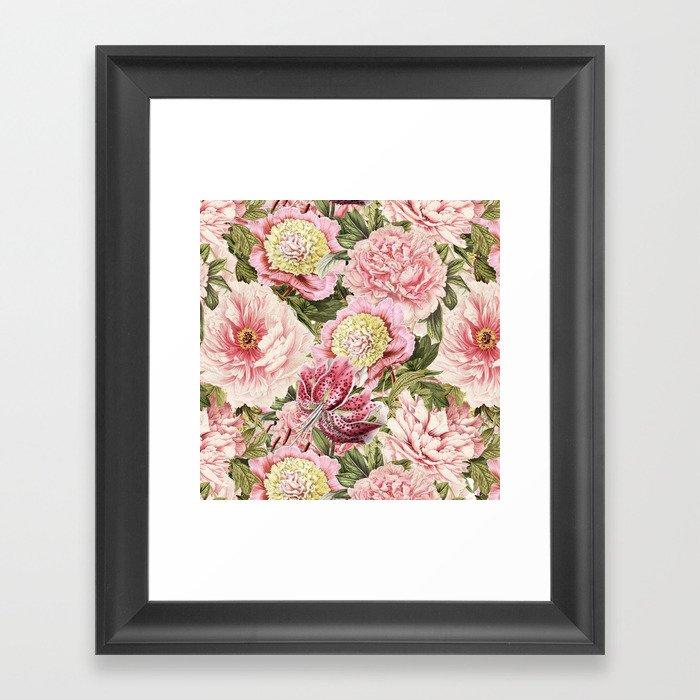 Vintage & Shabby Chic Floral Peony & Lily Flowers Watercolor Pattern Gerahmter Kunstdruck