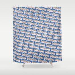 Indiana, USA Trendy Rainbow Text Pattern (Blue) Shower Curtain