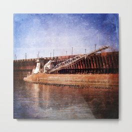 Vintage Great Lakes Freighter Metal Print