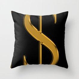 Dollar Sign 1 Throw Pillow