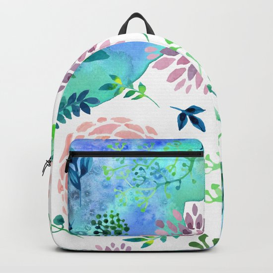 Watercolor Floral Pattern - WHEN AGATE MEET Backpack