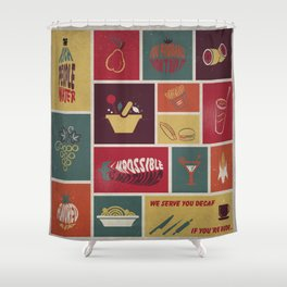 Vintage Food Collage Old Style Shower Curtain