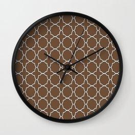 Coffee Brown Quatrefoil Pattern Wall Clock