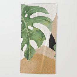 Abstract Art Tropical Leaves 3 Beach Towel
