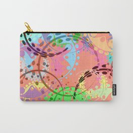 Texture of pastel gears and laurel wreaths in kaleidoscopic pink style. Carry-All Pouch