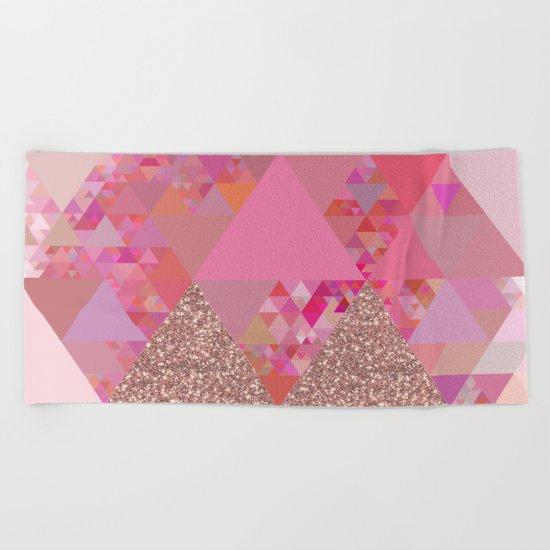 Triangles in glittering pink- glitter triangle pattern Beach Towel