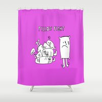 fight Shower Curtains featuring Pillow fight by andy_panda_