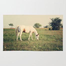 It's not a unicorn! It's a white horse! Rug