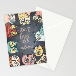 Don´t forget to be owlsome - Animal Owl Owls Fun illustration Stationery Cards