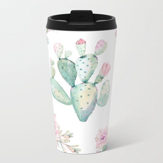 Simply Cactus Rose Metal Travel Mug