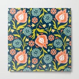 Indigo & Papaya Pattern 07 Metal Print