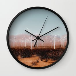 Wind turbine in the desert and mountain view at Kern County California USA Wall Clock