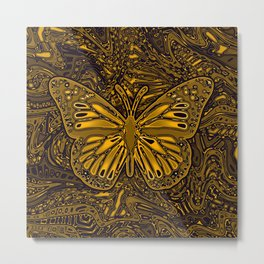 Gold Monarch Butterfly Metal Print