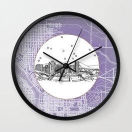 Portland, Oregon City Skyline Illustration Drawing Wall Clock
