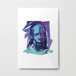 Woman illustration modern geometric purple Metal Print
