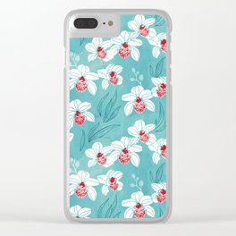 Orchid garden in peach on turquoise green Clear iPhone Case