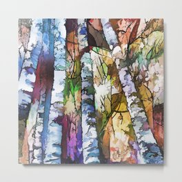 White Aspen and  Birch Trees Contemporary Art Metal Print