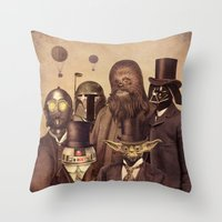 brown Throw Pillows featuring Victorian Wars  by Terry Fan