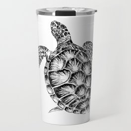 Sea turtle print in black and white Travel Mug