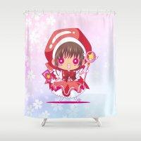 chibi Shower Curtains featuring Chibi Sakura by Neo Crystal Tokyo