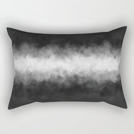 Dark Charcoal and White Abstract Rectangular Pillow