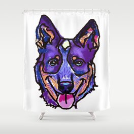 The happy Australian Cattle Dog Love of My Life Shower Curtain