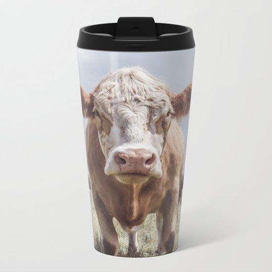 Cow Portrait Photography | Farm animal Metal Travel Mug