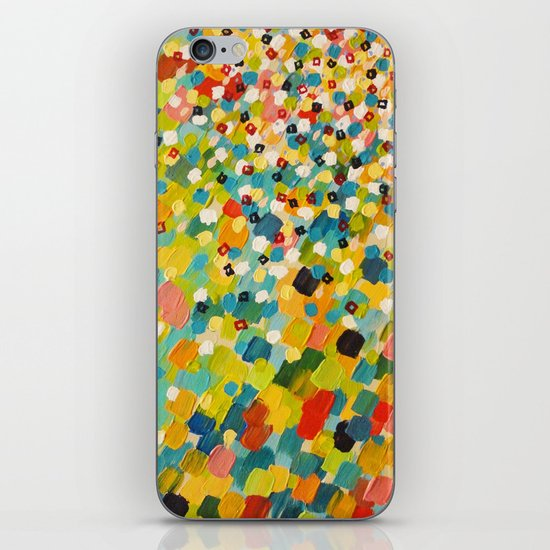 SWEPT AWAY 3 - Fresh Green Colorful Rainbow Ocean Waves Mermaid Splash Abstract Acrylic Painting iPhone & iPod Skin