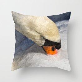 Peaceful Swan Art Throw Pillow