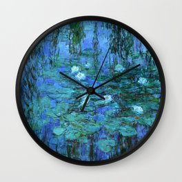 Claude Monet Water Lilies BLUE Wall Clock