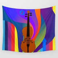 violin Wall Tapestries featuring Rainbow Violin by Nathalie Lawhead