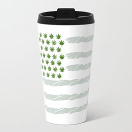 USA Weed Flag American Flag Weed T-Shirt Funny 4:20 Shirt Travel Mug