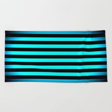 Stripes Aqua Blue & Black Beach Towel
