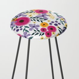 Spring Floral Bouquet Counter Stool