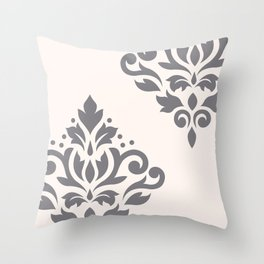 Scroll Damask Art I Grey on Cream Throw Pillow