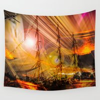 sailing Wall Tapestries featuring Sailing ships sunset by Walter Zettl