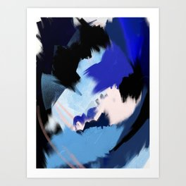 Back to You: an abstract, mixed-media piece in blues by Alyssa Hamilton Art Art Print