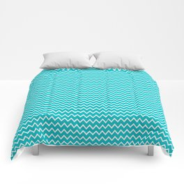 Teal Turquoise Blue Chevron Zigzag Pattern Comforters