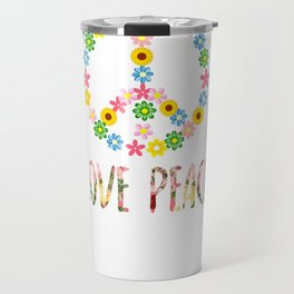 Peace Sign Love 60s 70s Hippie Costume graphic Travel Mug