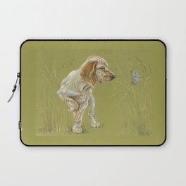 The First Spring Butterfly English Setter Puppy Pastel Drawing on green background Laptop Sleeve