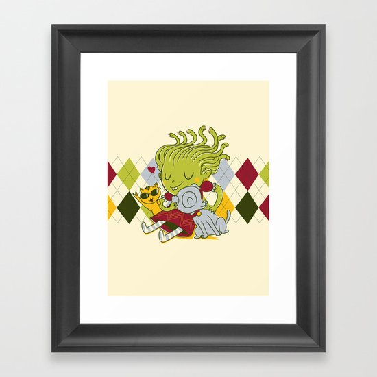 Medusa had a pet rock. Framed Art Print