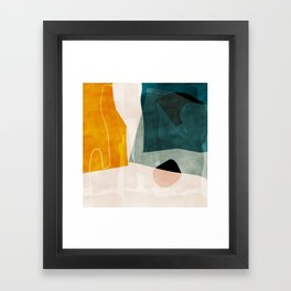 mid century shapes abstract painting 3 Framed Art Print