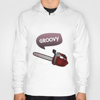 evil dead Hoodies featuring Evil dead Groovy chainsaw by Komrod