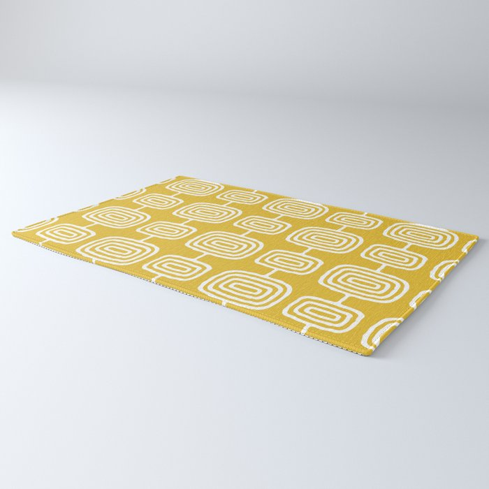 Mid Century Modern Atomic Rings Pattern Mustard Yellow Rug