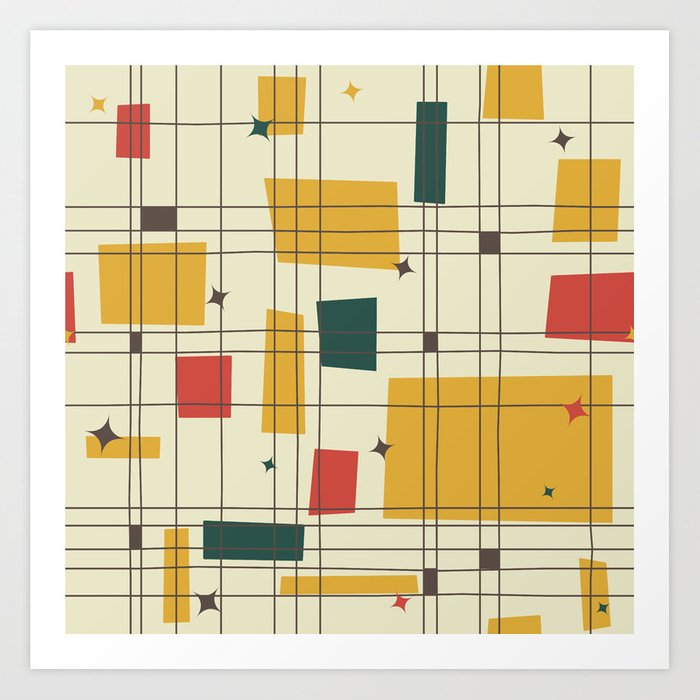 mid century modern gold art print by studiofibonacci society6. Black Bedroom Furniture Sets. Home Design Ideas